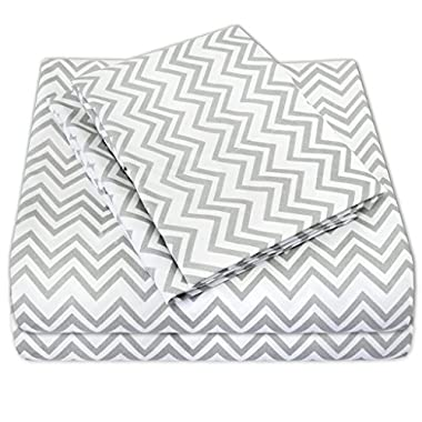 1500 Supreme Collection Bed Sheets - PREMIUM QUALITY BED SHEET SET & LOW PRICE, SINCE 2012 - Deep Pocket Wrinkle Free Hypoallergenic Bedding - 4 Piece Sheets - TRIPLE CHEVRON PRINT- Queen, Gray