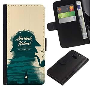 A-type (Sherlock detective de Londres Big Ben) Colorida Impresión Funda Cuero Monedero Caja Bolsa Cubierta Caja Piel Card Slots Para HTC One M8
