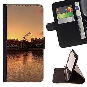 LG Magna / G4C / H525N H522Y H520N H502F H500F (G4 MINI,NOT FOR LG G4)Case , Los buques de pesca Harbor Sunset Agua- la tarjeta de Crédito Slots PU Funda de cuero Monedero caso cubierta de piel
