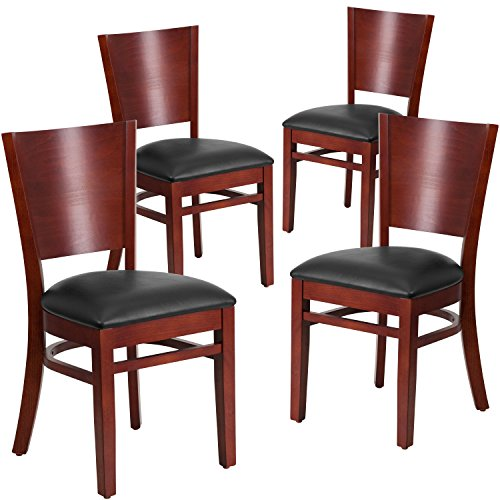Mahogany Solid Wood Seat - Flash Furniture 4 Pk. Lacey Series Solid Back Mahogany Wood Restaurant Chair - Black Vinyl Seat