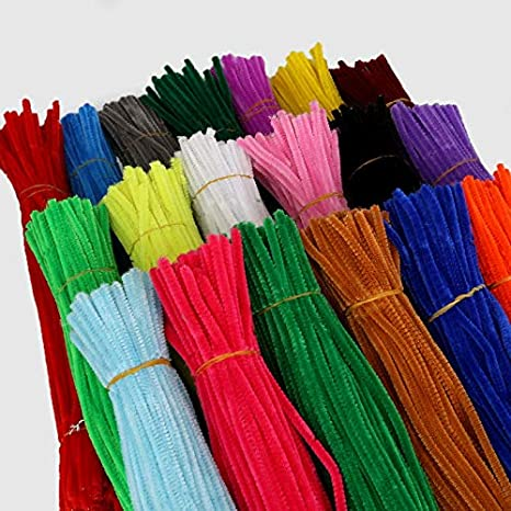 Color: Red ShineBear 100pcs 5mm Chenille Stems Pipe Cleaners Children Kids Plush Educational Toy Crafts Colorful Pipe Cleaner Toys Handmade DIY Craft