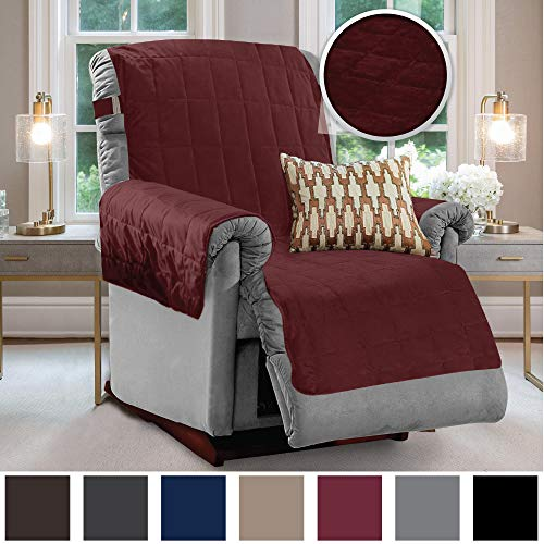 Gorilla Grip Original Velvet Slip Resistant Luxury Recliner Slipcover Protector, Seat Width Up to 26 Inch Patent Pending, 2 Inch Straps, Hook, Furniture Cover for Pets, Dogs, Kids, Recliner, Merlot Burgundy Leather Reclining Sofa