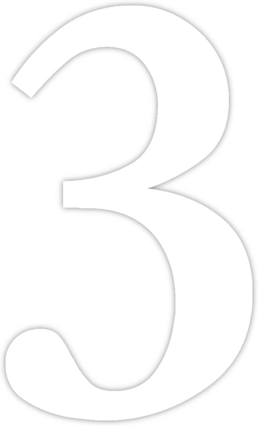 Ziffer zum Aufkleben f/ür Au/ßen T/ür I wetterfest I kfz/_465/_6 6 in wei/ß I H/öhe 30 cm I selbstklebende Haus-Nummer Briefkasten Zahlen-Aufkleber Nr
