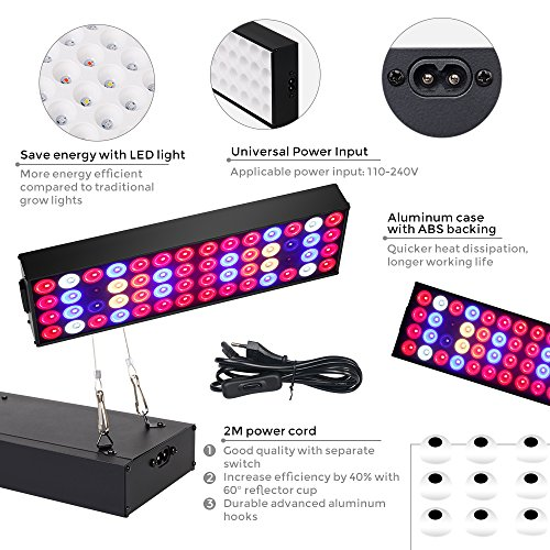 36W Full Spectrum LED Grow Light with UV & IR,No Noise Led Grow Light Bulb with Daisy Chain for Indoor Plants.Cool When Running,Energy-efficient,Works for All Stages by Antievening (Image #4)'