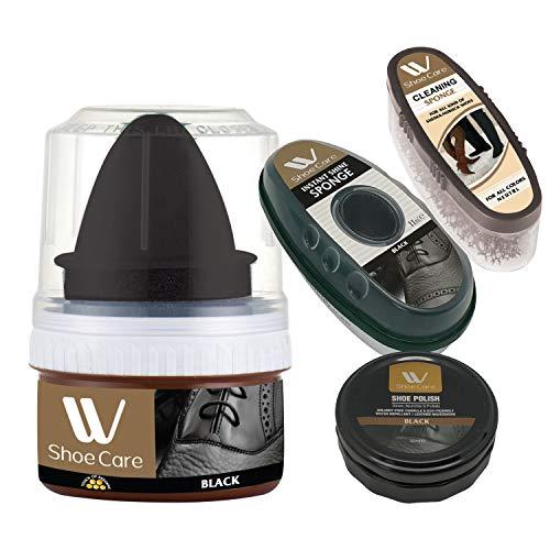 W Shoe Care Cleaning Kit (4 Pcs),Cleaning Sponge,Instant Shine Sponge With Black Shoe Polish & Cream