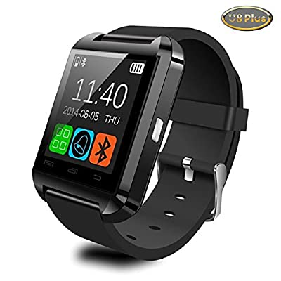 Upgraded Version Bluetooth Smart Watch Black WristWatch U8 Plus UWatch Fit for Smartphones IOS Android Apple iphone 4/4S/5/5C/5S Android Samsung S2/S3/S4/Note 2/Note 3 HTC with Luxsure USB Light