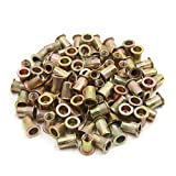 uxcell 100Pcs M6 Zinc Plated Carbon Steel Car Rivet Nut Flat Head Threaded Insert Nutsert