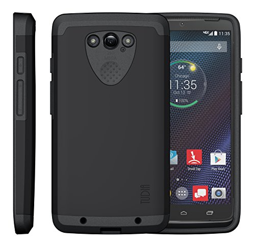 TUDIA Slim-Fit CYGEN Dual Layer Protective Case for Motorola DROID Turbo Ballistic Nylon Version Only (NOT Compatible with Metalized Glass Fiber Version) (Matte Black)
