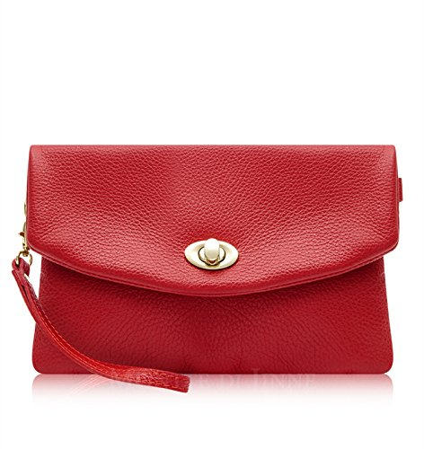 Italian Leather Lock Clutch Red Postman's Genuine Italian Leather Montte Di Leather Bag Jinne 100 Soft ECOWnqZ
