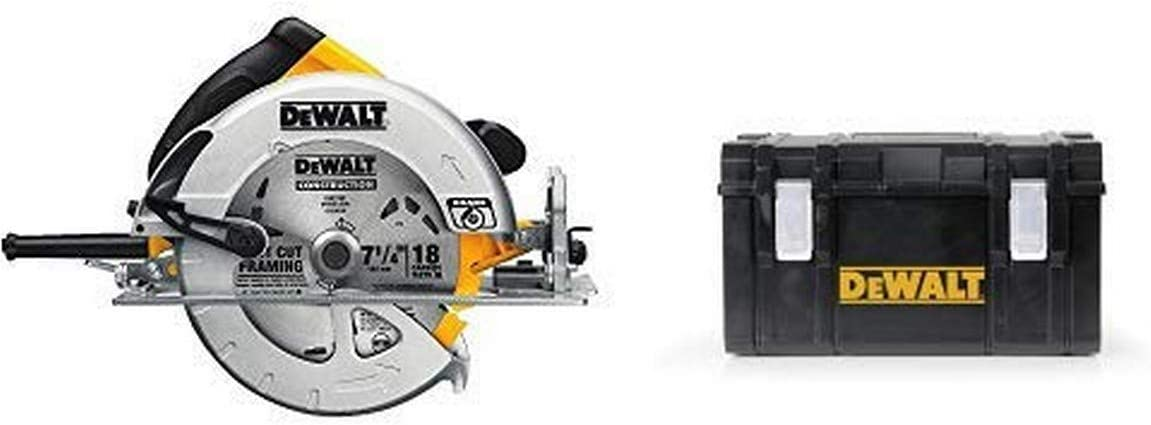 DEWALT DWE575SB 7-1/4-Inch Lightweight Circular Saw with Electric Brake with DWST08203H Tough System Case, Large