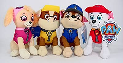 "Paw Patrol Plush Pup Pal 4 Pcs Character Plush Set Marshall Chase Rubble Skye 8"" Plush Doll from Nickelodeon"