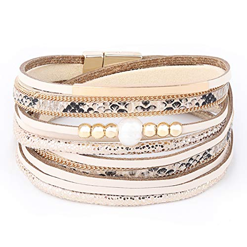 - Womens Leather Cuff Bracelet - Braided Wrap Bangle Handmade Multi Layer Jewelry - with Alloy Magnetic Clasp - Bohemian Gift for Women, Mother,Girls ((Beads)-Beige)