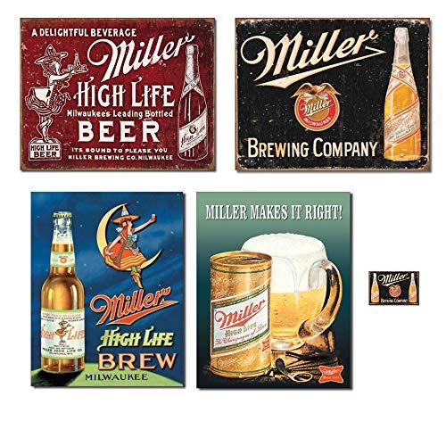 Bundle: Miller Beer Tin Sign Decor - Miller Bound to Please, Miller Brewing Vintage, Miller High Life Brew, Miller Makes it Right and Miller Brewing Magnet