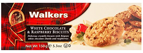 Walkers Shortbread White Chocolate and Raspberry Biscuits, 5.3-Ounce (Pack of 4) (Chocolate Chip Shortbread Cookies)