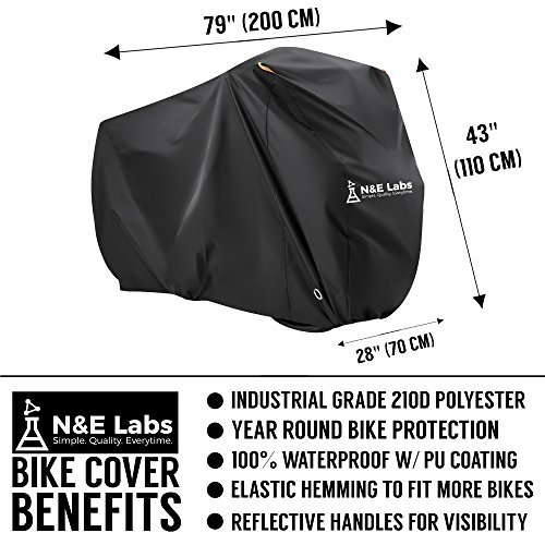 Bike Cover Waterproof Outdoor Bicycle Storage for 2 Bikes - Rain, UV Sun, Dust & Wind Proof Tarp for Mountain, Road, Electric & Cruiser Bike Protection | Lightweight Carrying Bag Included (Black, XL) by N&E Labs (Image #1)