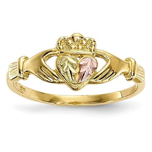 Lex & Lu 10k Tri-Color Black Hills Gold Claddagh Ring Size 7-Prime