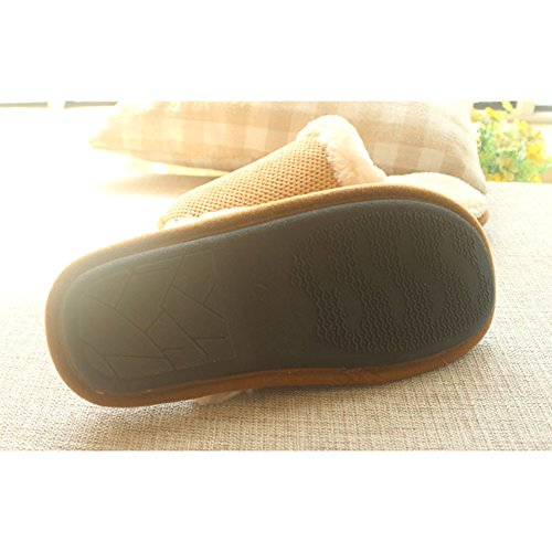 Song Autumn and Winter Home Cotton Slippers Warm Non-Slip Mens Rubber-Soled Cotton Slippers Brown 44 4FL7OOK