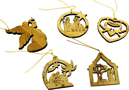 - The Nativity Story carved by Laser Ornaments Set with the Nativity Story illustrative booklet / Card - Olive wood (7 cm or 2.8 inch each with certificate)