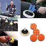 Quaanti Paint 7pcs/Set Sponges Waves Plate Compound Car Auto Polishing Tools Drill Adapter Care Polishing pad Set Car-Styling (Multicolor)