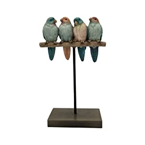 "Comfy Hour 10"" Polyresin Four Birds Sparrows Gathering On Stand Tabletop DÃcor"