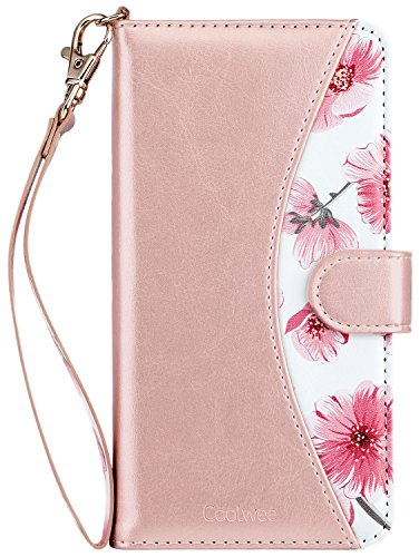 Coolwee iPhone 6S Plus Case, iPhone 6 Plus Wallet Case for Women Girls Floral Design PU Leather Flip Folio Kickstand Wrist Strap Card Pocket Holder Protective Cover for iPhone 6s Plus Rose Gold Flower