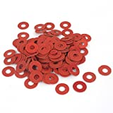 Uxcell a15112300ux0379 Fiber Motherboard Insulating Gasket Flat Washer, 100 Piece, 4 mm x 10mm x 0.5 mm, Red