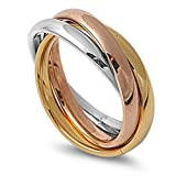 3MM Stainless Steel Tri color Interlocked Rolling Band Ring (Size 3 to 13), 8