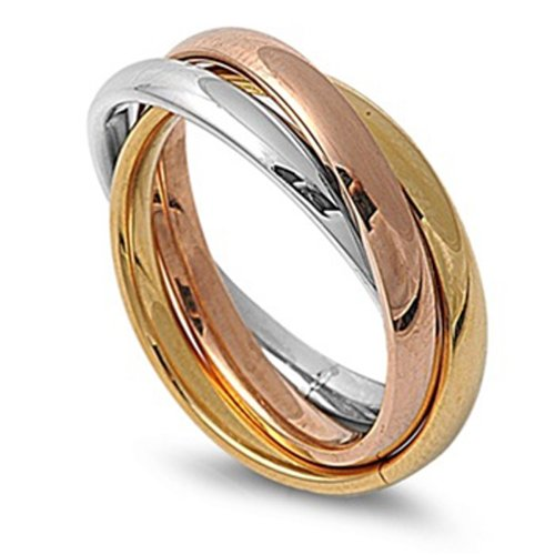 Double Accent 3MM Stainless Steel Tri color Interlocked Rolling Band Ring (Size 3 to 13), ()