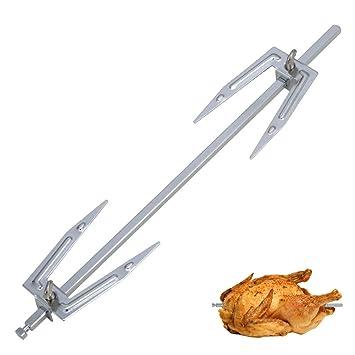 owikar rejilla para asar pollo Barbacoa de acero inoxidable tenedores rotación tenedores pollo asador accesorio de cocina horno accesorios barbacoa pinchos ...