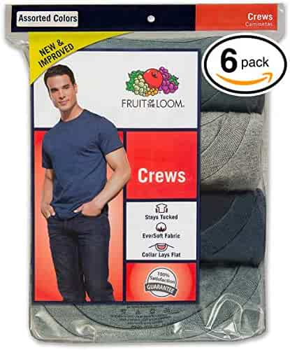 Fruit of The Loom Men's Stay Tucked Crew T-Shirt, (Large, Assorted)