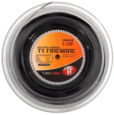 Tier One T1-Firewire Co-Polyester Tennis String (Black, 18 Gauge (1.20 mm) - 200 m Reel)