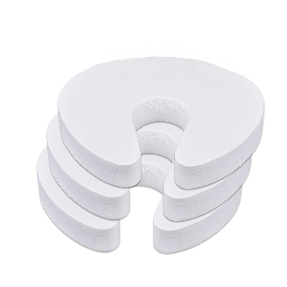 JZK® 3 x Foam Door Guards Stopper Finger Pinch Guard Safety Guard for Baby, white