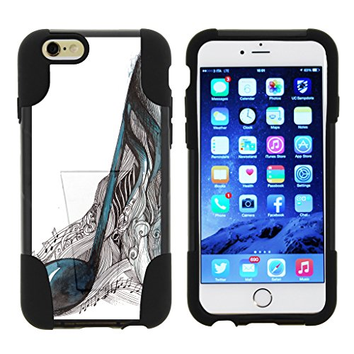 TurtleArmor | Compatible for Apple iPhone 6 Case | iPhone 6s Case [Gel Max] Hybrid Kickstand Shell Hard Protector Case Fitted Gel Shock Silicone Music Design - Artistic Music (Skull Hard Case)