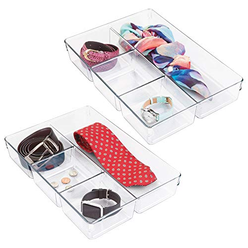 mDesign Closet and Dresser Drawer Storage Organizer Tray, Bin with 4 Compartments for Storing Socks, Leggings, Tights, Watches, Scarves, Jewelry, Reading Glasses, 2 Pack - Clear (Tray Four Compartment)
