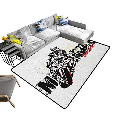 - Motorcycle Custom Pattern Floor mat Motorbike Illustration Doted Grungy Background Super Bike Passion Silhouette 78