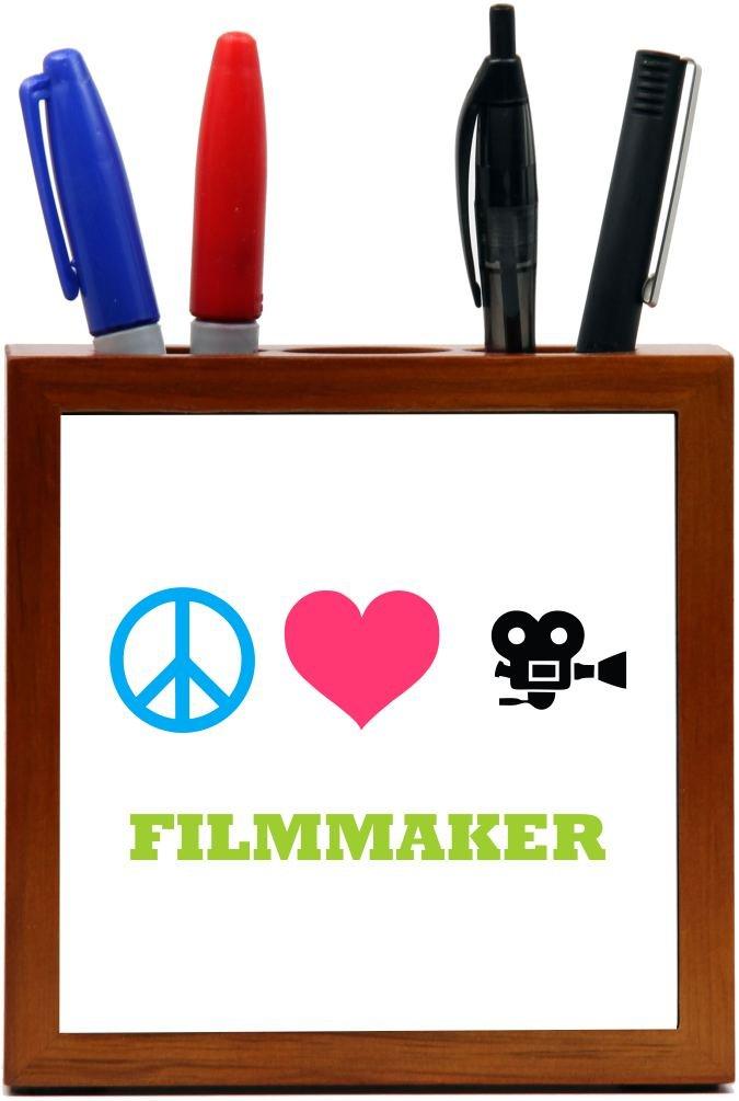 Rikki Knight Peace Love Filmmaker Design 5-Inch Tile Wooden Tile Pen Holder (RK-PH41550)