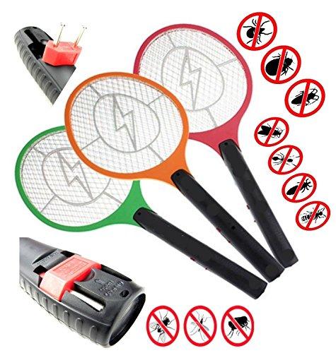 1 Elektrische Fliegenklatsche mit AKKU STAR-LINE® Insekten Vernichter Aufladbar Fliegenfänger Erzeugt eine elektrische Spannung im Metallgitter (Rot)