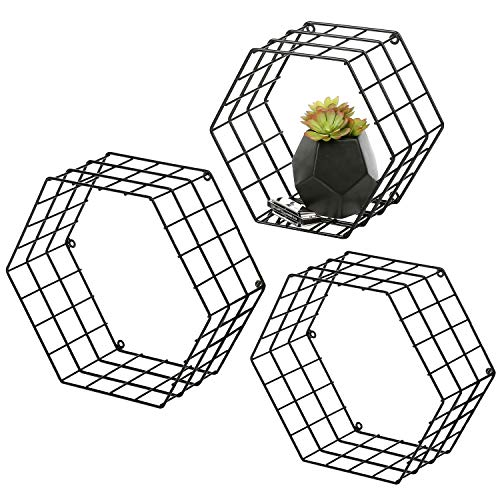 Cheap  MyGift Metal Wire Hexagon Design Wall-Mounted Shelves, Set of 3, Black