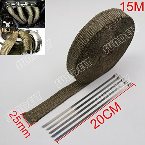 SUNDELY® Titanium Colour Glassfiber Exhaust Pipe Header Heat Wrap Resistant Downpipe Tape Roll 1' X 49' (2.5cm X 15m) + 5 Metal Ties