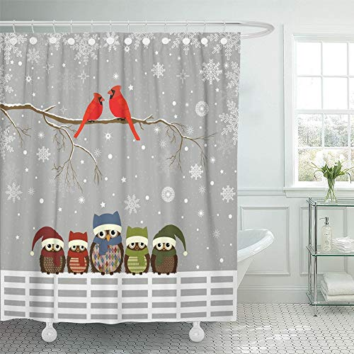 Emvency Decorative Shower Curtain Colorful Cardinal Christmas Branch with Red Birds and Family of Owls on Fence 66