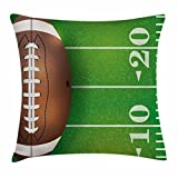 CAROLJU Boy's Room Throw Pillow Cushion Cover, American Football Field and Ball Realistic Vivid Illustration College, Decorative Square Accent Pillow Case, 18 X 18 Inches, Green Brown White