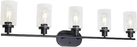 Amazon Com Vinluz 5 Light Classic Wall Light Black Bathroom Vanity Lighting Fixture With Clear Glass Shade Home Improvement