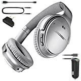 Bose QuietComfort 35 Bluetooth Wireless Noise Cancelling Headphones - Silver & Car Charger - Bundle