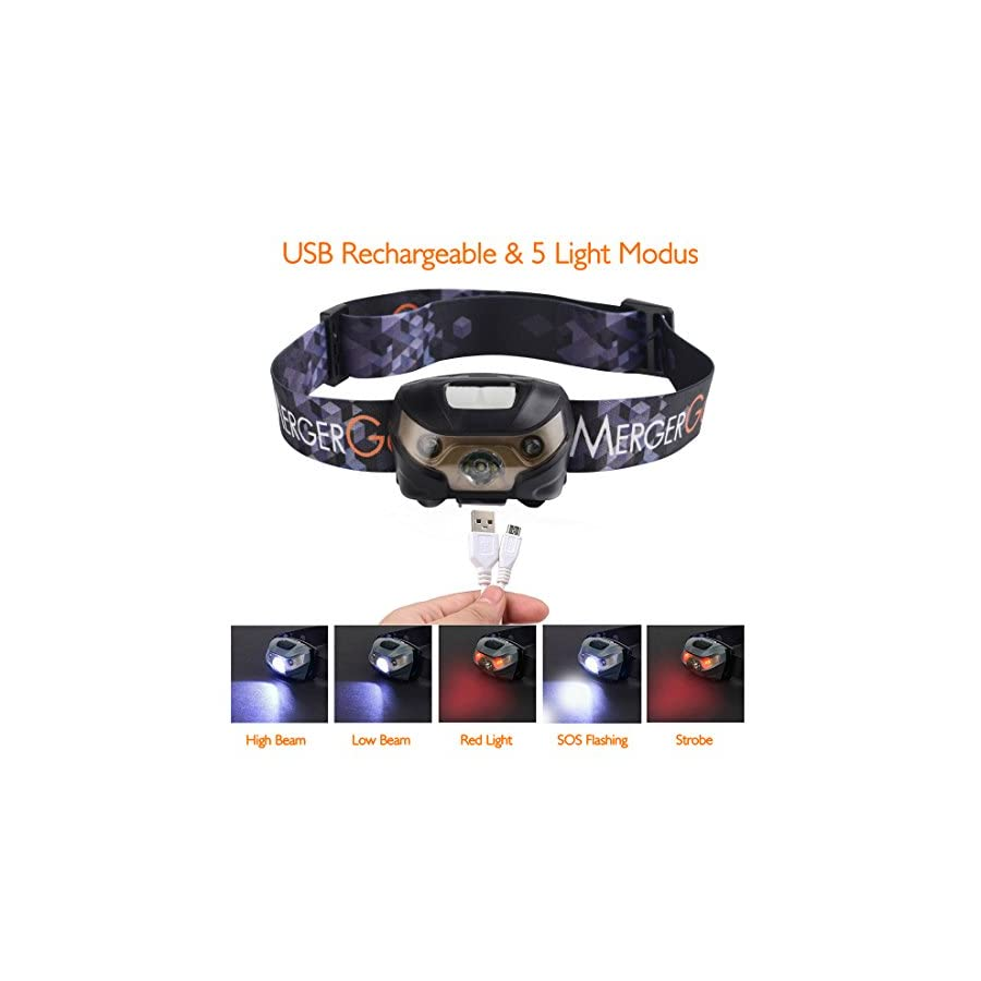 USB Rechargeable LED Headlamp Ultra Lightweight Comfortable Super Bright Waterproof Head Torch Perfect for Running, Camping, Hiking, Walking,Fishing,Reading,Bicycling