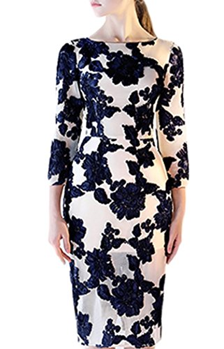 Butmoon Women's Scoop Neck Long Sleeve Floral Lace Prom Evening Dress Short