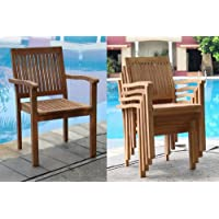 Qty 6 - Leveb Stacking Arm / Captain Grade-A Teak Wood Luxurious Dining Chair #WHDCARLV6