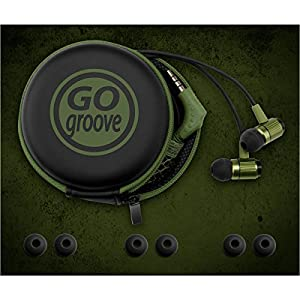 Ultra-Durable AudiOHM RNF Army Green Ergonomic Headphones with by GOgroove feat. Handsfree Mic and Military Grade Materials used in Body Armor for Apple , Samsung , LG and More