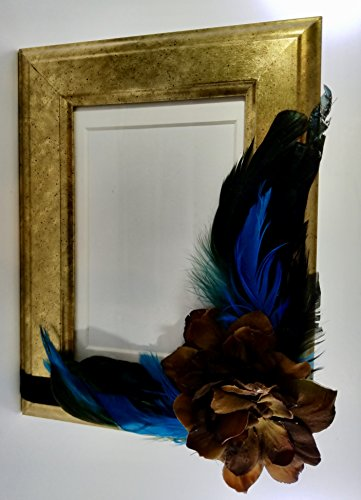 Brown and Antiqued Gold Photo Frame - Peacock Feathers 4x6