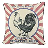 JuniperLab Farmhouse Pillows Shabby Chic Primitives Feed Sack Chickens Throw Pillow Covers 16'