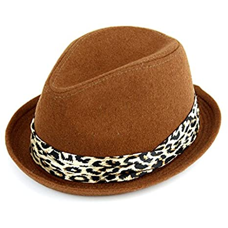 LADIES TRILBY HAT with STINGY TURN UP BRIM & LEOPARD PRINT BAND WOOL FELT